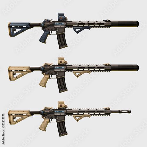 Photo realistic modern assault rifles set