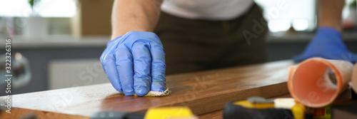 Obraz na płótnie Carpenter working at carpentry workroom