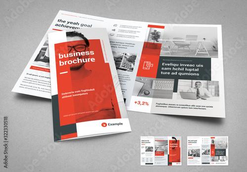 Fototapeta Light Gray and Red Business Tri-Fold Layout obraz