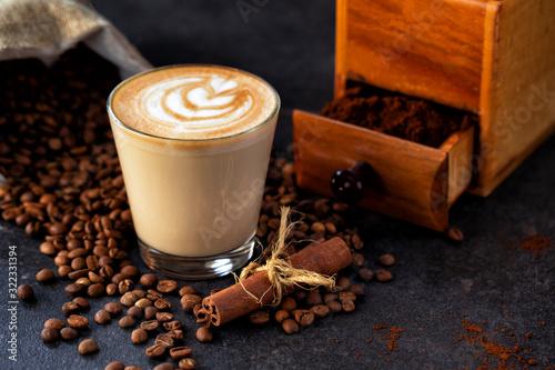 Rosetta pattern in a glass of coffee
