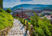 Stone Paved Alley On Hillside Of Medieval Fortified City Of Sighisoara, Transylvania Region, Romania