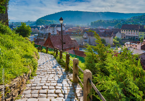 Canvastavla Stone paved alley on hillside of medieval fortified city of Sighisoara, Transylv