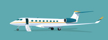 Business Jet With An Open Passenger Door And A Ramp Isolated. Vector Flat Style Illustration.