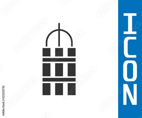 Valokuvatapetti Grey Detonate dynamite bomb stick and timer clock icon isolated on white background
