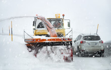 Front View Of Snowplow Service...