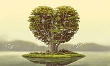 Heart Tree Island With River, ...