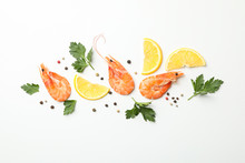 Composition With Shrimps And Spices On White Background, Top View