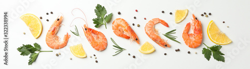 Flat lay with shrimps and spices on white background, top view Canvas Print
