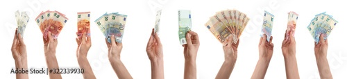 Fotomural Collage with women holding euro banknotes on white background, closeup