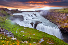 Panoramic View On Gullfoss Waterfall On The Hvíta River, A Popular Tourist Attraction And Part Of The Golden Circle Tourist Route In Southwest Iceland. Golden Waterfall. Travelling Concept Background.