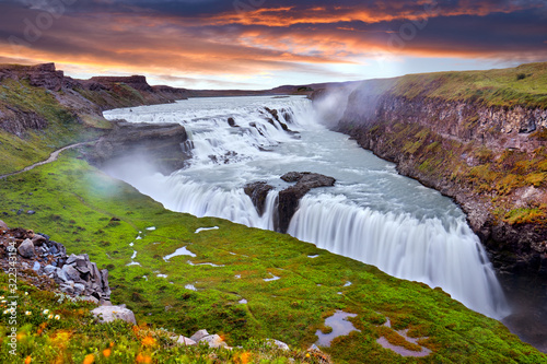Panoramic view on Gullfoss waterfall on the Hvíta river, a popular tourist attraction and part of the Golden Circle Tourist Route in Southwest Iceland Canvas Print