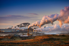 Alternative Green Energy. Geothermal Power Station Pipeline And Steam. Plant Located At Reykjanes Peninsula In Iceland, Europe.  Popular Tourist Attraction. Steaming Hot Water. Gunnuhver Hot Springs.
