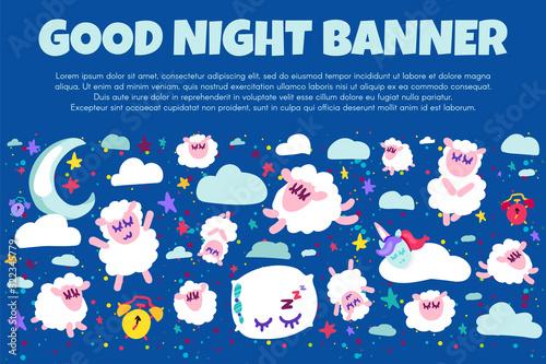 Good night banner with flat sheep Obraz na płótnie