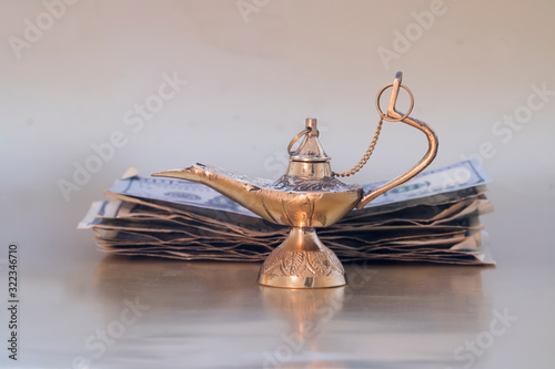 Magic genie lamp used for creating wishes and manifestations for money Wallpaper Mural
