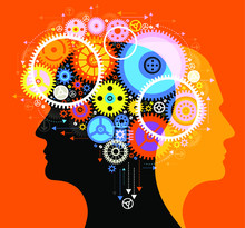 Human Head And Brain Gears In Progress.