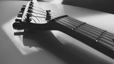 Fototapeta Do przedpokoju - electric guitar closeup with copy  space . black and white