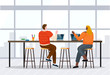 Woman and man greet each other, coworkers in open space. Lady and guy working on laptops. Room interior with high table and chairs and window with cityscape view. Vector illustration of office in flat