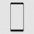 Realistic smartphone display mockup. Smartphone mockup isolated on transparent background. Realistic vector illustration.