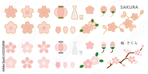 Cherry Blossom & Hanami Vector Element Set Canvas Print
