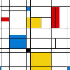 Panel Szklany Abstrakcja Mondrian seamless pattern. Bauhaus abstract geometric style. Colorful bauhaus vector illustration. Mosaic Piet Mondrian emulation.