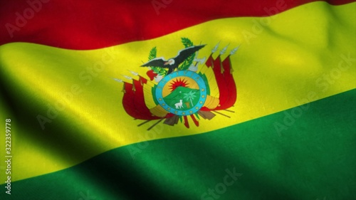 Photo Bolivian flag waving in the wind
