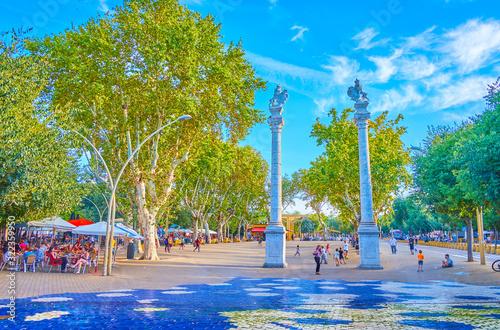 The large La Alameda square in Seville, Spain Canvas Print