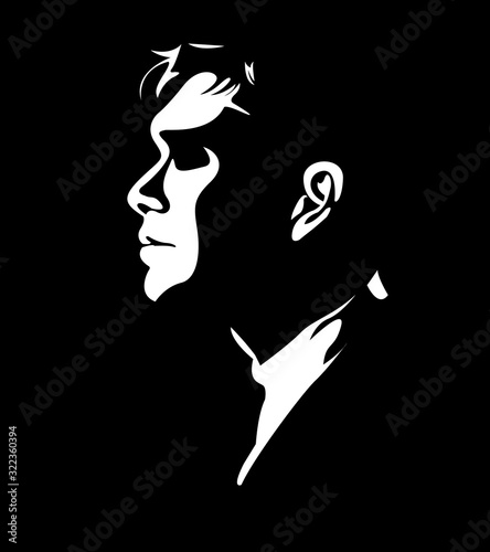 Fotografie, Tablou silhouette of man in a suit Chicago gangster mafia
