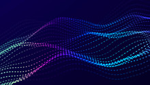 Abstract Futuristic Wave Background. Network Connection Dots And Lines. Digital Background. 3d Rendering.