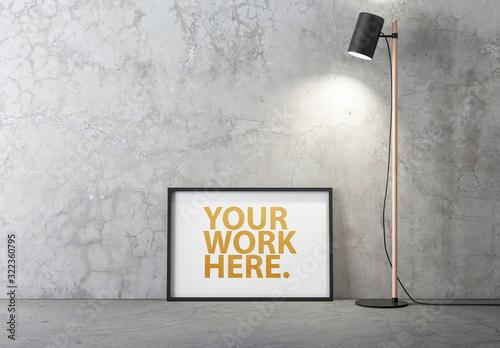 Fototapeta Horizontal Black Frame Mockup Standing on the Floor obraz