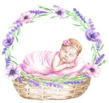 Sleeping Newborn Baby In Flowe...