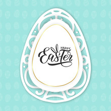 Happy Easter Text Lettering Logo On Lace Paper Egg. Easter Eggs Background. Happy Easter Concept As Promotion Banner, Sales Flyer, Card For Egg Hunt, Invitation. Vector Illustration EPS 10