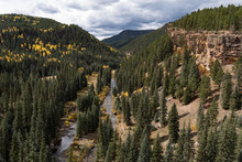 The Historical North Piedra Stock Driveway Trail Is Next To The Piedra River.  Early Autumn Colors And Dramatic Vistas Await The Visitors Too Colorado.