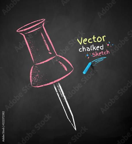Photo Chalk drawn illustration of red push pin