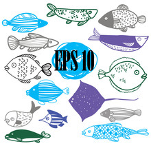 Fish, Set Of Images. Drawing By Hand In Vintage Style. Children's Drawing. Sea Fish Of Different Sizes. Flounder, Stingray, Perch.