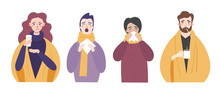 Set Of People With Cold Or Flu. Characters With Runny Nose, Cough, Fever And Sneezing Are Isolated On A Light Background. Vector Flat Cartoon Illustration
