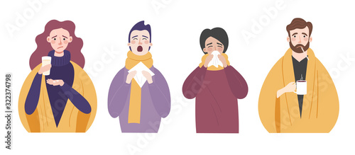 Vászonkép Set of vector illustrations of people with cold or flu