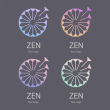 Vector Trendy Transparent Set Of Icon And Logo On A Dark Black Background Of Blowing Dandelion Seeds Flower For Spa Massage Studio, Cosmetics, Fashion. Template For Business Brand
