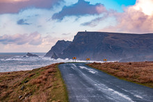 The Road Between Malin Beg And Glencolumbkille During Storm Ciara In County Donegal - Ireland