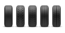 Realistic Car Tires With Different Tread Patterns