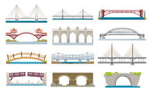 Different Types Of Bridges Architecture Flat Icons