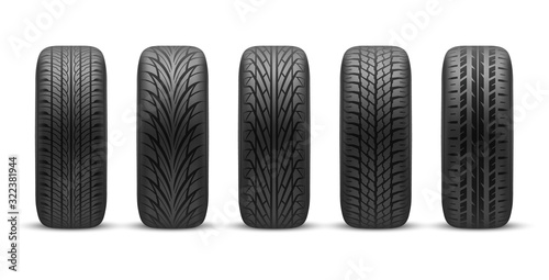 Fotografía Realistic car tires with different tread patterns