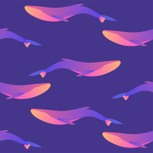Vector Seamless Pattern On Deep Blue Violet Background With Whales In Gradient Modern Colors. For Prints, Textile, UX/UI Modern Flat Slyle