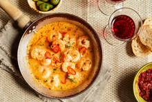 Pan Of Spicy Scampi Tails Sauteed With Garlic