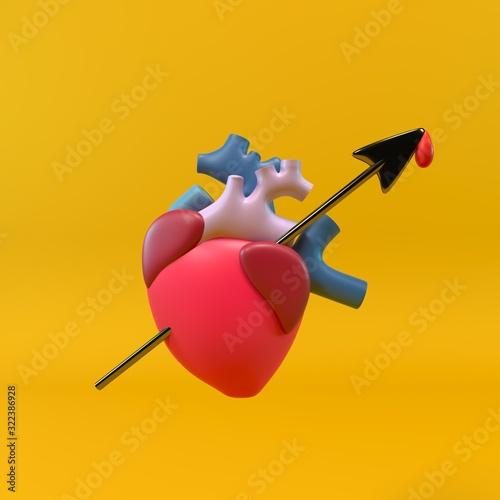 ilustracion de un corazón flechado Wallpaper Mural