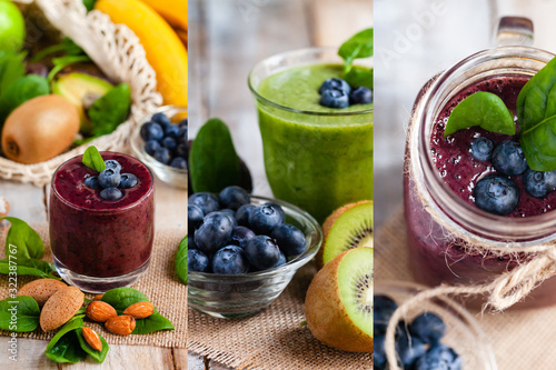Fototapeta Healthy food and vegan diet concept collage - fresh juice or smoothie with blueberry, spinach, banana, kiwi. Antioxidant detox beverage with raw ingredients.  Wooden background, close up, macro obraz