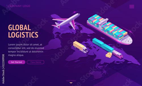 Fotografija Global logistics isometric landing page