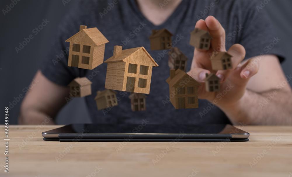 Fototapeta  house in among houses for real estate  concept.