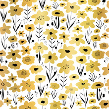 Gold Foil Flower Field Seamless Vector Pattern. Metallic Golden Black White Floral Background. Repeating Ditsy Flower Backdrop. Summer Or Spring Nature Design. Use For Elegant Packaging, Wrapping