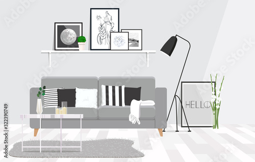 Luxurious living room interior with a grey couch, lamp, coffee table and posters in shelf Wallpaper Mural