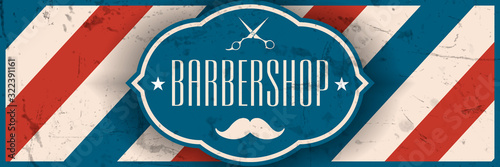 Old school barbershop horizontal banner.